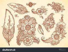 Flowers And Feathers Henna Tattoo Vector Designs Set - 292851296 : Shutterstock