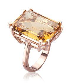 Lisa Nik Citrine Emerald Cut Ring | Gemstone Jewelry NYC | Designer Cocktail Rings