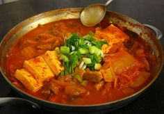 I used this kimchi jjigae (김치찌개) recipe as source material to make my own version, though most ideas came from my partner. I do like this recipe and the site.