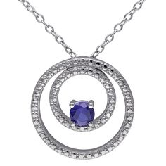 1/3 CT. T.W. Simulated Blue Sapphire Double Circle Necklace in Sterling Silver - Sapphire, Women's