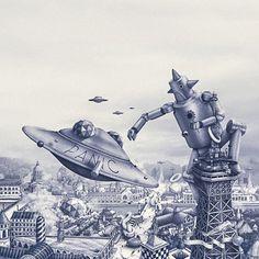 O ilustrador francês tem ficado famoso por suas ilustrações surreais em grande escala, confira aqui um pouco do seu trabalho.