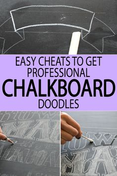 Easy Cheats to get a Professional Chalkboard Look Love chalkboard art? Check out these easy cheats to get a clean chalkboard drawing! Chalkboard Doodles, Chalkboard Writing, Chalkboard Drawings, Chalkboard Designs, Chalkboard Ideas, Chalkboard Art Kitchen, How To Clean Chalkboard, Chalk Writing, Chalkboard Fonts
