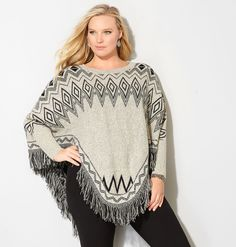 Shop ponchos in classic fall patterns like this plus size Diamond Fringe Poncho available in sizes 14-32 online at avenue.com. Avenue Store