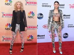 Bold move, Zendaya! The Disney starlet arrived to the Billboard Music Awards on May 17, 2015 rocking the same eccentric pants that Iggy Azalea wore to the iHeartRadio Awards on March 29, 2015! Zendaya took the outfit to the next level, wearing a matching crop top and jacket, but no one can forget that Iggy clearly wore it first less than two months prior.