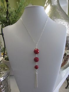 ON SALE Sterling Silver With Faceted Coral & A by JKCustomDesigns