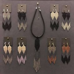 Earrings Loom woven Hand made jewelry grey