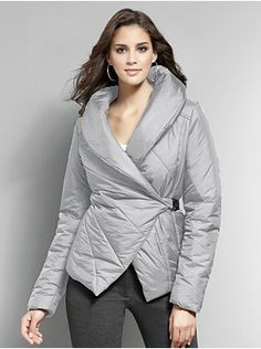 Asymmetrical Puffer Jacket with High Collar