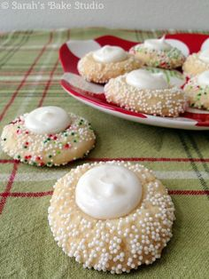 Beautiful holiday Buttercream Thumbprint Sugar Cookies – the perfect marriage of soft sugar cookie with sweet buttercream, bundled up in a no-stress recipe.