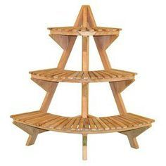 Jewels Of Java 39-In Natural Indoor/Outdoor Corner Wood Plant Stand Jw