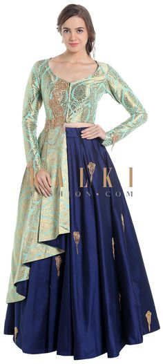Turquoise and navy blue lehenga choli with brocade work only on Kalki