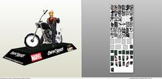 Papercraft .pdo file template for Ghostrider - Sculpture.