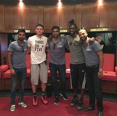 Ashwin Ravi Bhuvneshwar Kumar and Shikhar Dhawan spend time with NBA team Miami Heat players - http://ift.tt/1ZZ3e4d
