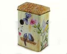 Vintage Tiny Tin Box Bird House with Thatched Roof by MysticLily