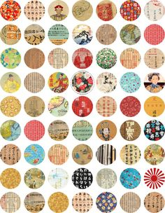 Asia 25 1 Inch Circles Digital Collage Sheet by por cachecache, $2.50