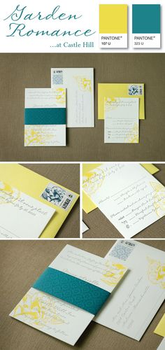 Teal & yellow garden romance invitation suite by Paper Moss