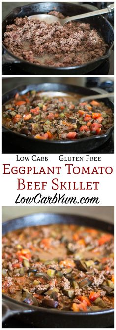 Need a quick weeknight meal? This simple low carb gluten free eggplant tomato ground beef skillet recipe is simple and delicious. It's also budget friendly.