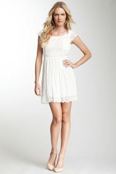 Philosophy by Alberta Ferretti White Georgette Lace Halter Silk Dress
