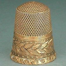 Outstanding Antique Engraved 14 Kt Gold Thimble * American * Dated 1875