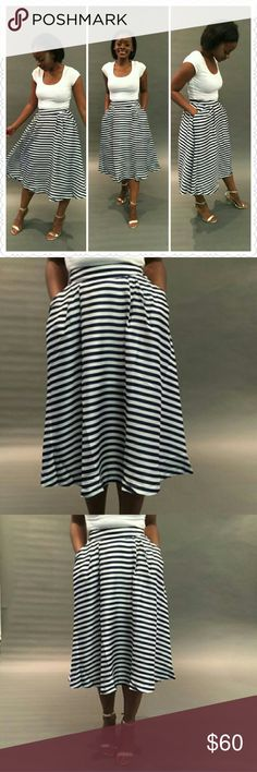 Blue & White Stripe Skirt Step up and Step out on a special night with this Blue & White Stripe Midi Skirt. This skirt was recreated in a vidid mix of classic blue -and- white stripes.Designed to sit at the waist, it has back zipper, two front pockets.  It has linning inside. Material 100% Polyester.  Machine wash gentle cycle. Do not bleach. Hang dry or Line dry. Iron up to 110. Made In Vietnam. Relished Skirts Midi