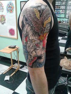 #eagletiger tiger and eagle half sleeve