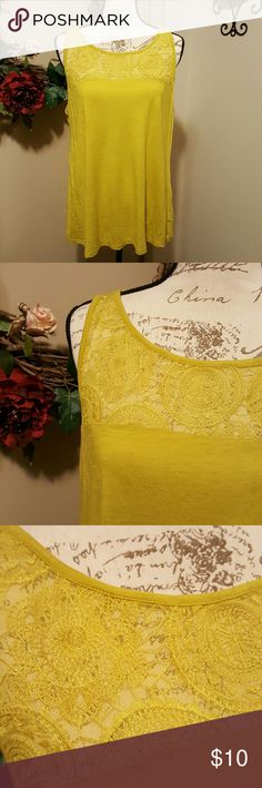 Lane Bryant Sleeveless Top with Lace Detail 14/16 Bright yellowish green sleeveless shirt from Lane Bryant with lace detail. Perfect for spring! Size 14/16 Lane Bryant Tops Tank Tops