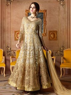 Beige Net Layered Anarkali Suit 93820