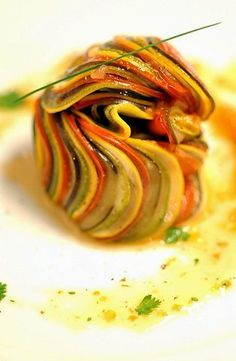 Thomas Keller's ratatouille. Real life version of the film's dish.  Can't find original post, but this image is too lovely not to repost.