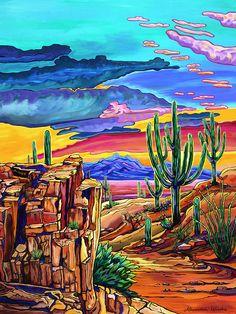 Landscape Drawings, Landscape Art, Landscape Paintings, Landscapes, Canvas Painting Quotes, Easy Canvas Painting, Cactus Art, Rock Cactus, Southwestern Art