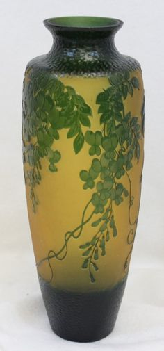 1980s ROMANIAN GALLE FRENCH-STYLE ETCHED CAMEO VASE XW : Lot 354