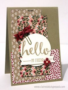 Stampin' Up! Hello card using the 2016 Saleabration Hello Stamp set, Love Blossoms DSP and Love Blossoms Embellishment Kit. Card by Claire Daly , SU Demonstrator Melbourne Australia