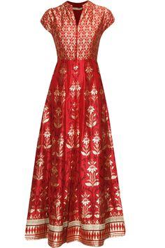Red banarasi hand woven jacket kurta with gold pants at Pernia's Pop Up Shop.