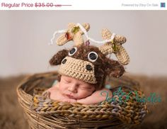 Moose baby earflap with removable christmas lights baby  hat Great photography Prop Many sizes. $28.00, via Etsy.