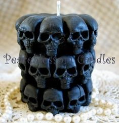 Pure Beeswax Embellished Skull Pillar Candle in BLACK is part of Home Accessories Candles Decor purebeeswaxembellishedskullpillar Try this one for spooky fun! Not just for Halloween, skulls are in - Dark Home Decor, Goth Home Decor, Skull Decor, Skull Art, Skull Candle, Gothic Furniture, Gothic House, Skull And Bones, Pillar Candles