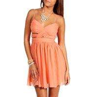 Elly-Peach Short Prom Dress