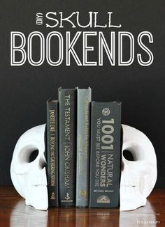 {Halloween DIY} Skull Bookends