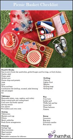 Picnic Checklist! Everything you need to pack for a picnic.