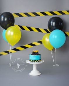 Construction Themed Cake Smash || Truck Cake Smash || Dump Truck || Boy || Caution Tape Banner || Boy Cake Smash Ideas || Boston Photographer || Jennifer Prisco Photography