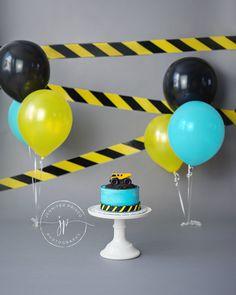 Construction Themed Cake Smash || Truck Cake Smash || Dump Truck || Boy || Caution Tape Banner || Boy Cake Smash Ideas || Boston Photographer || Jennifer Prisco Photography