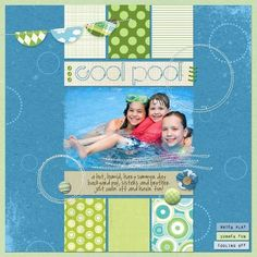 summer scrapbook page layouts | Summer Pool scrapbook page layout