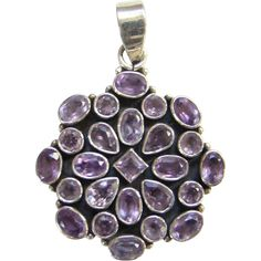 Vintage 925 Sterling Silver and Amethyst Cluster Necklace Pendant Hallmarked
