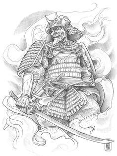Japanese Samurai Warrior Tattoo Design photo - 1