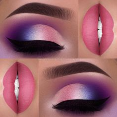 Pink and purple eye and lip makeup idea