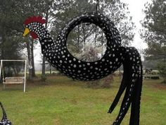 Chicken tire swing  COCK-A-DOODLE-DOIN'-IT!  <3