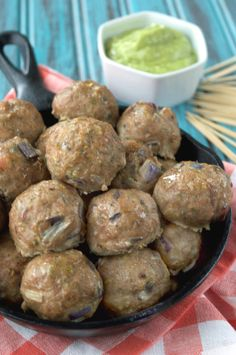 Bacon Ranch Meatballs with Avocado Ranch Dip  1¼ lbs ground turkey, 4 bacon slices cooked crispy, 1 TBsp ranch seasoning (I've pinned a Paleo recipe for this), ½ cup minced red onion, 1 egg  AVOCADO RANCH DIP: 1 avocado, ¼ cup coconut milk, 1 TBsp ranch seasoning, ⅛ tsp sea salt