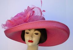 For the Kentucky Oaks....Go Big or Go Home!  Pink Large Brim-XL Rose by HAT-A-TUDE