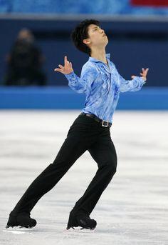 フィギュア男子SPで演技する羽生[代表撮影](2014年02月13日) 【時事通信社】