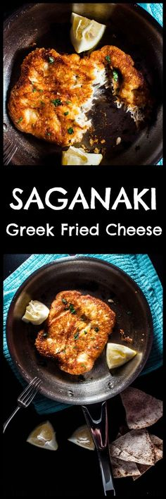 Saganaki (Greek fried cheese) is crunchy on the outside and melty on the inside. If you like cheese, you're going to love this pan-seared Greek cheese appetizer. Ready in 10 minutes! Greek Fried Cheese, Baked Cheese, Fingers Food, Greek Dinners, Vegetarian Recipes, Cooking Recipes, Amish Recipes, Dutch Recipes, Greek Cooking