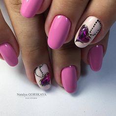 Heart nail designs, Hearts on nails, Lilac gel nail, Lilac nails, Original nails, Purple nails, Romantic nails, Spring nails 2017
