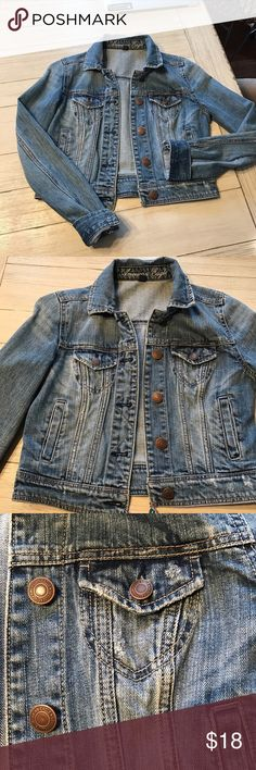 AE Denim Jacket EUC!  staple piece you need in your wardrobe!  Spring is coming!  Layer over maxi dresses, collard shirts, t-shirts just about anything!  Slightly destroyed as seen on pocket. American Eagle Outfitters Jackets & Coats Jean Jackets
