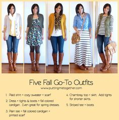 My Five Fall Go-to Outifts : 1. Plaid Shirt + Cozy Sweater + Scarf 2. Dress + Thights & Boots + Fall Colored Cardigan. Even Great For Spring Dresses 2. Plain Tee + Printed Scarf 4. Chambray Top + Skirt. Add Tights For Shorter Skirts 5. Stripped Tee + Boots | #puttingmetogether #fashion #fashionadvice